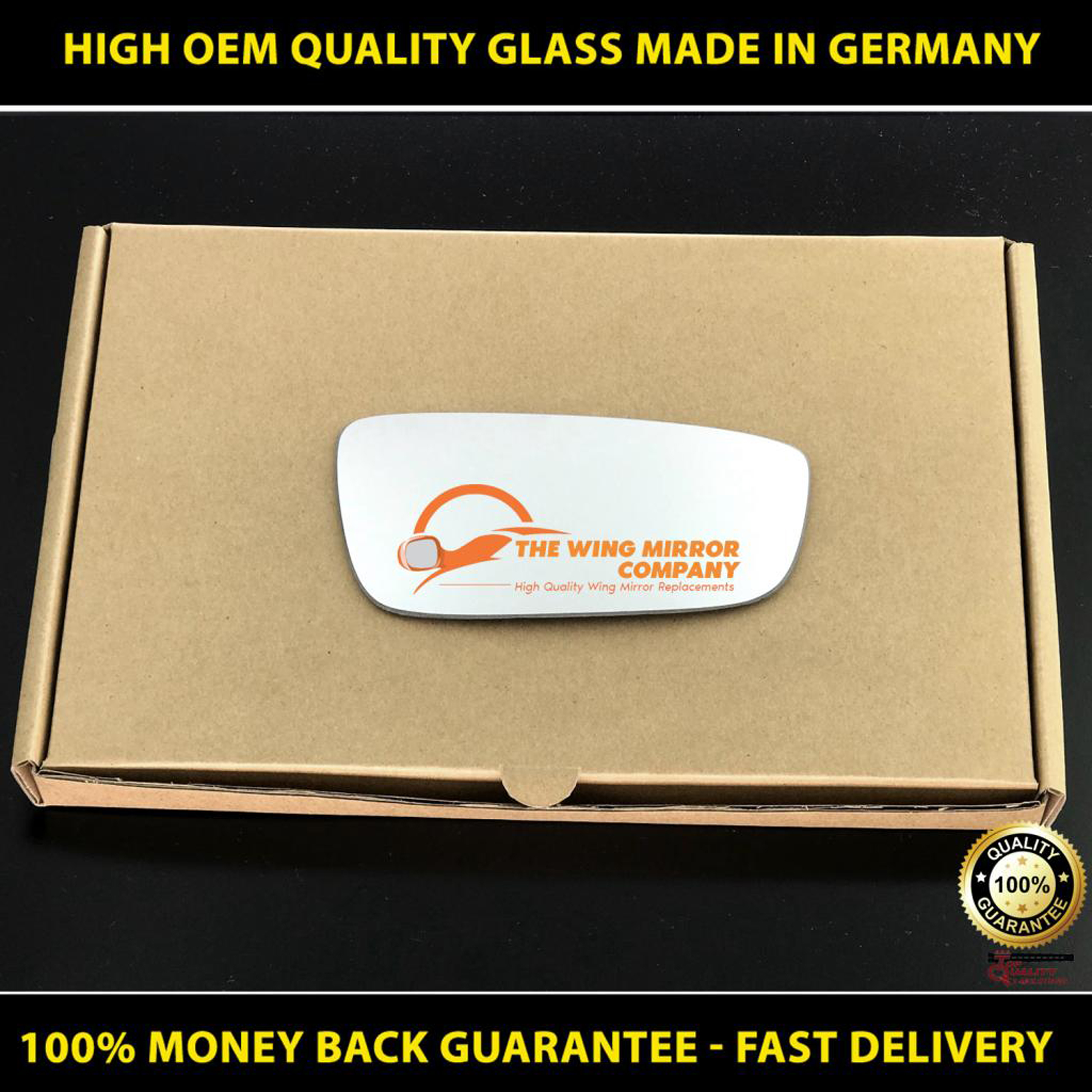 FIAT 500  WING MIRROR GLASS SILVER,HEATED /& BASE,LEFT SIDE 2007-2017