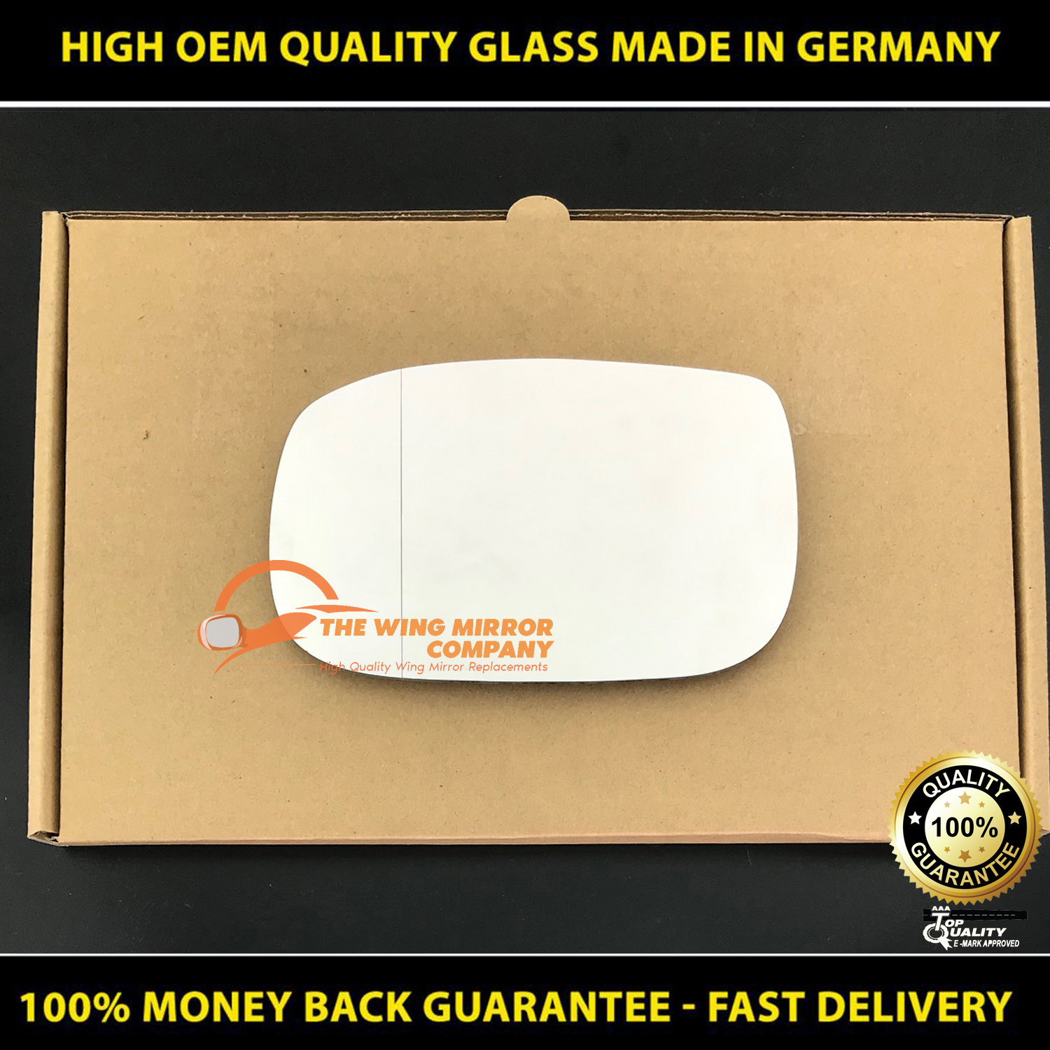 Passenger Side FO C-Max 2003 to 2008 Heated, Oblong fitting Silver Door Mirror s Including Base Plate LH