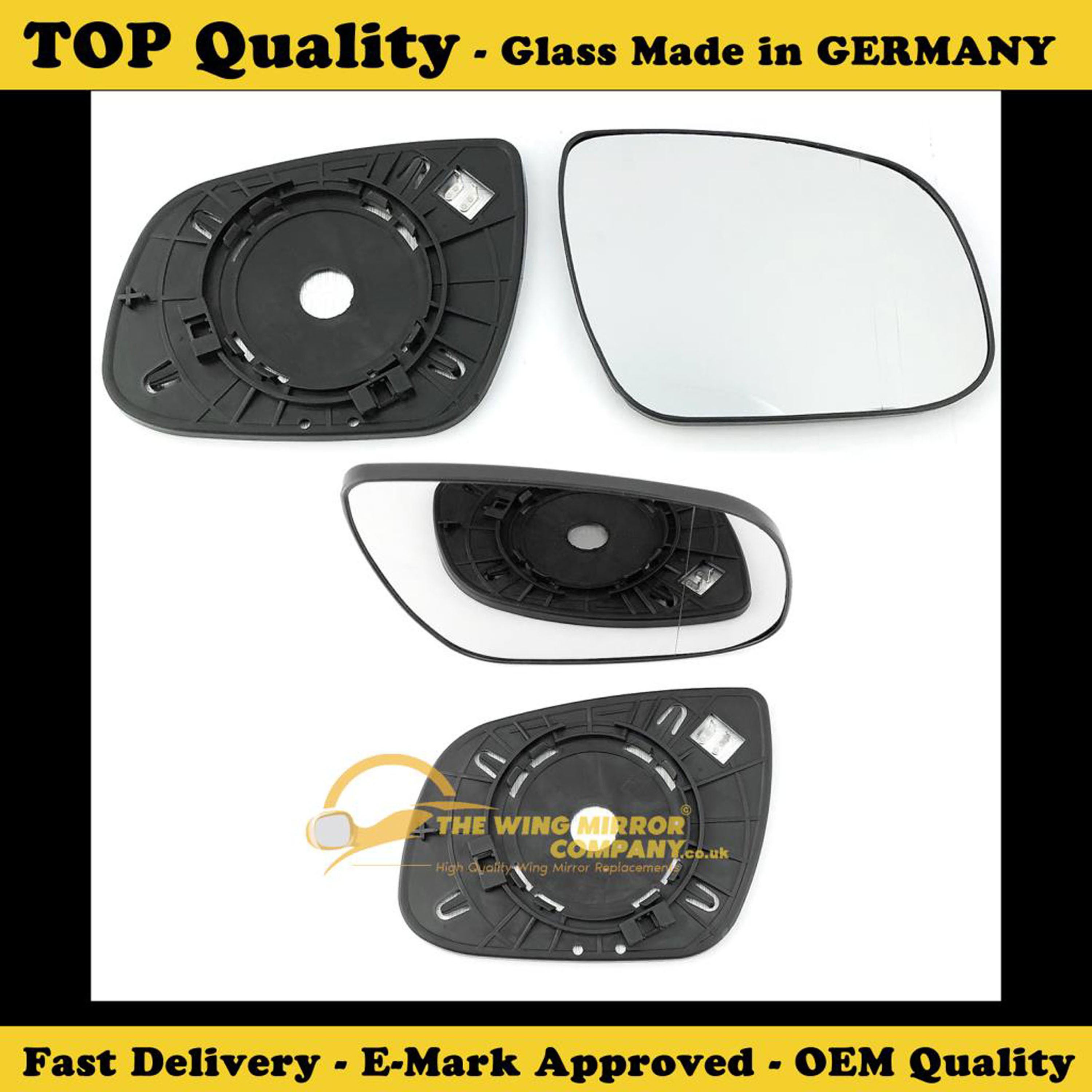 Driver side Clip heated Wide Angle wing mirror glass for Hyundai i40 15-17