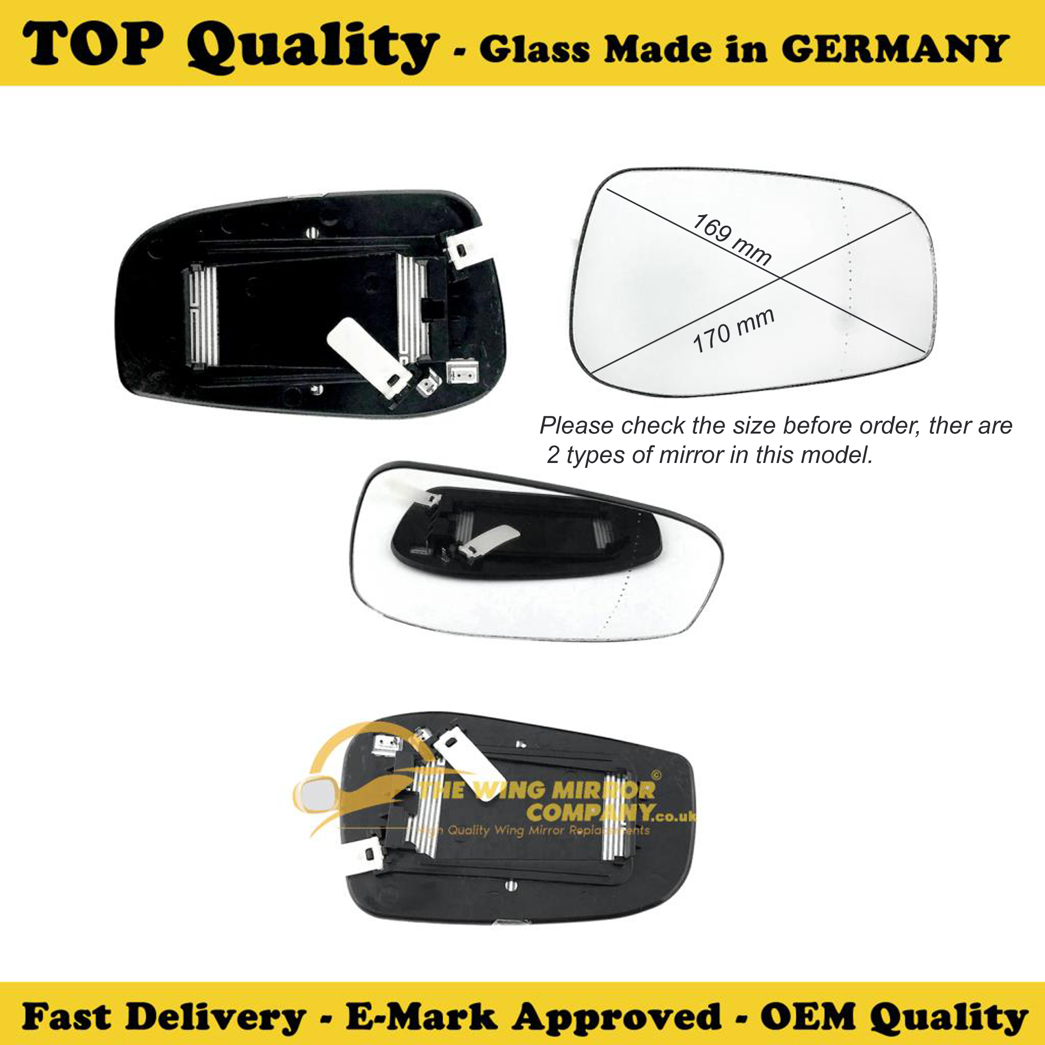 Fits Reg 2008 ONWARD Wing Mirror Glass Volvo V70 With HEATED Base  LHS