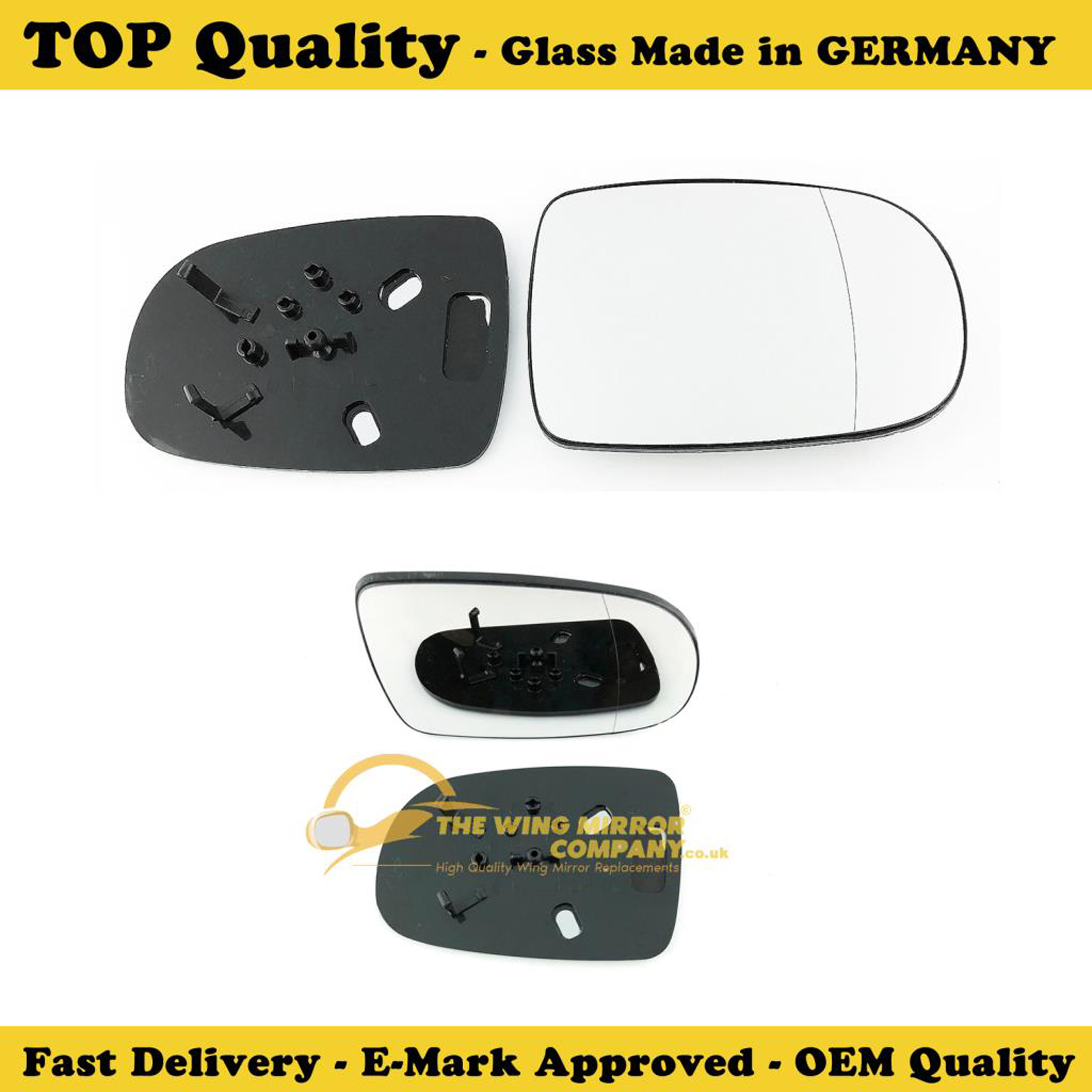 Wing Mirror Glass With base-heated RH Driver Side Silver Aspheric